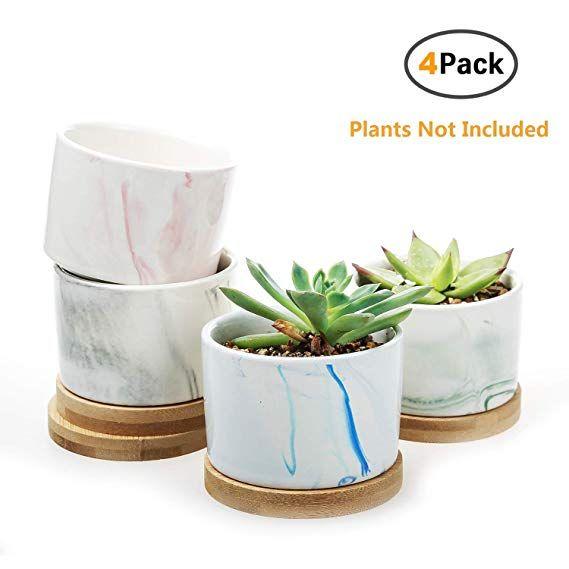 Amazon Com Clearance Sale Succulent Plant Pots Oamceg 3 15 Inch Marble Design Succulent Plante Ceramic Succulent Design Succulents Ceramic Succulent Planter