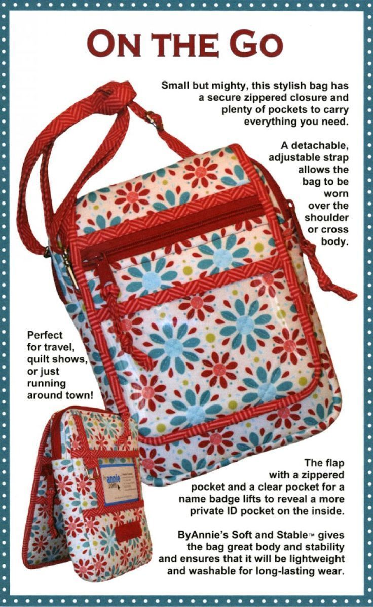 On The Go Bag Sewing Pattern By Annie Unrien Bag Patterns To Sew