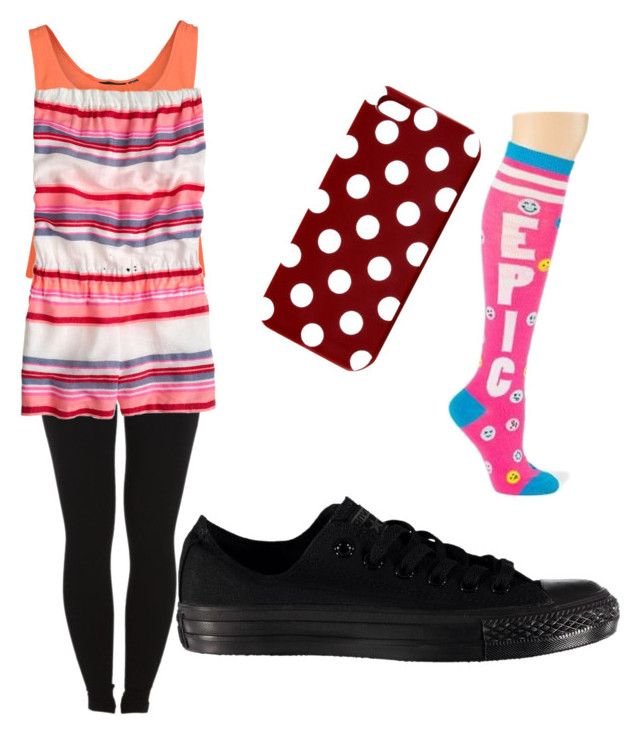 """Wacky Tacky Day!!!"" by averageclouds on Polyvore featuring MINKPINK, Pieces, J.Crew, Converse, claire's and spiritweek"