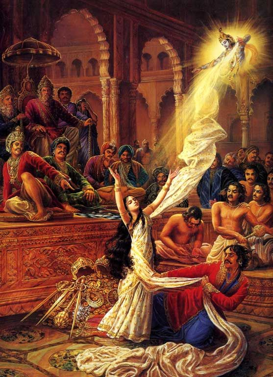 This illustrates the story from the Mahabharata where Draupadi, the wife of the Pandava brothers, prays to Lord Krishna for help and is saved by His making the cloth of her sari endless so she can not be humiliated.