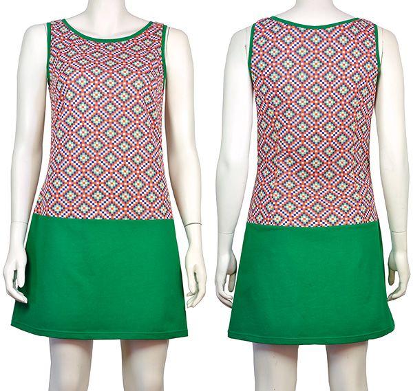 Jurkje Charlot, groene tricot + jaren 60 geblokte trivera, Pop Rok