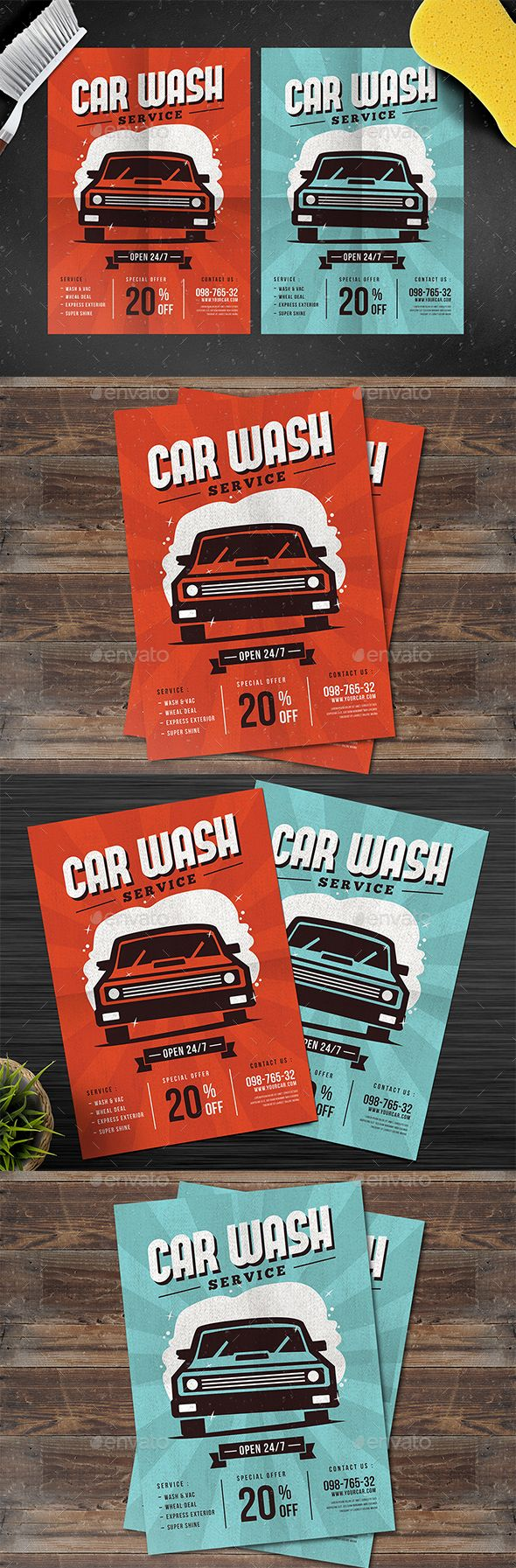 Car Wash Service #Flyer - Events Flyers Download here: https://graphicriver.net/item/car-wash-service-flyer/19221516?ref=alena994