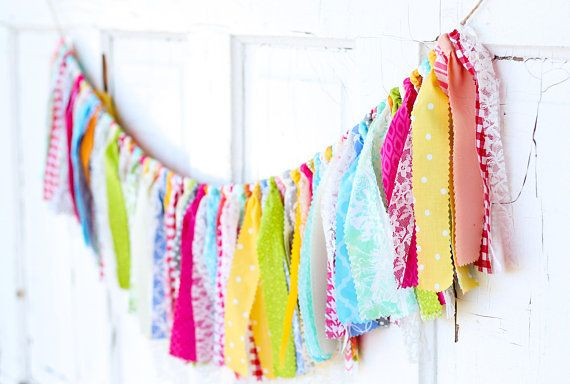 Fabric Garland Vintage Inspired Quilt Fabrics Banner Shabby Chic Outdoor Wedding Happy Birthday Bunting Colorful Cloth Girls Bedroom Rainbow