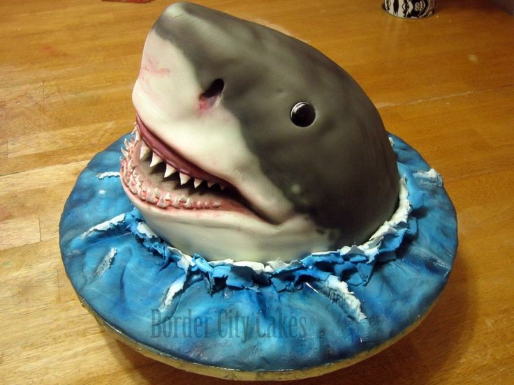 shark cakes | shark completely cake airbrushing and fondant no supports or other ...