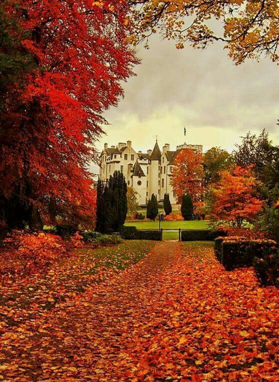 Autumn at the Blair Castle in Scotland.
