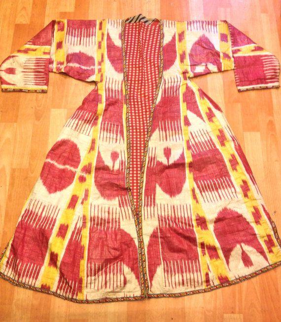 Uzbek ikat silk chapan old ikat kaftan clothes by akcaturkmen