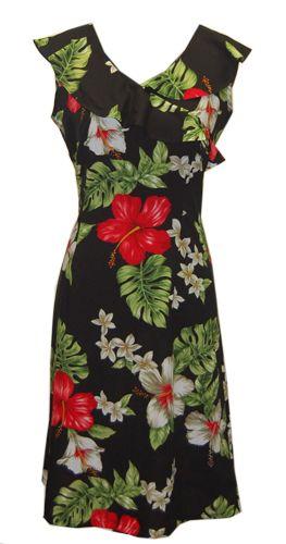 Hawaiian Lahaina Black Island Dress