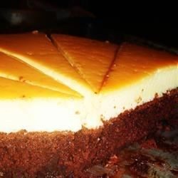 This flan is made with condensed and evaporated milk and baked in a pie dish.