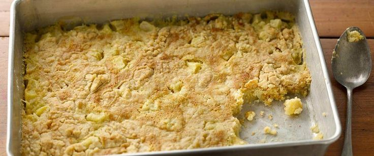 Fresh apples, Betty Crocker yellow cake and melted butter combine in this easy-to-make, and easy-to-eat, dessert.
