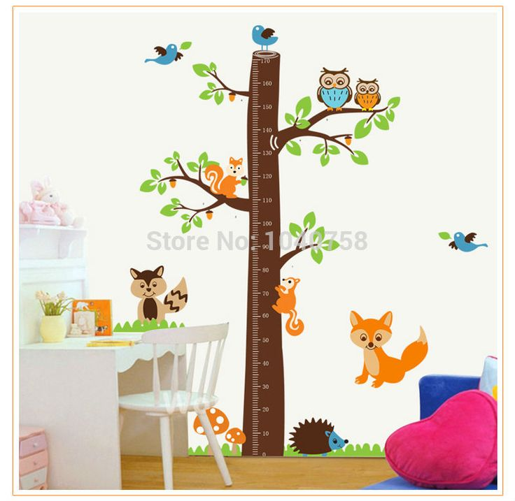 Árbol pegatinas de pared de altura gobernante crecimiento gráfico para niños ardilla búho decorativo tatuajes de