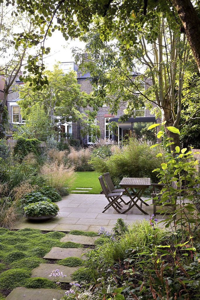 Great garden design for a long, narrow city garden. Path takes you down each side to create movement through garden and heavy blocks of planting visually break it up into smaller areas... Mercers Road. Photo Sarah Cuttle