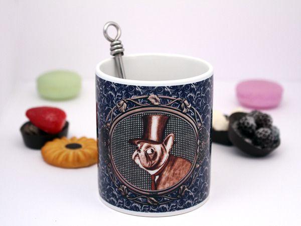 """Mug original """"Le dandy, bouledogue français"""" - Tasse à thé, tasse à café. Graphisme et illustration by Andi Lee : Vaisselle, verres par andi-lee-creations"""
