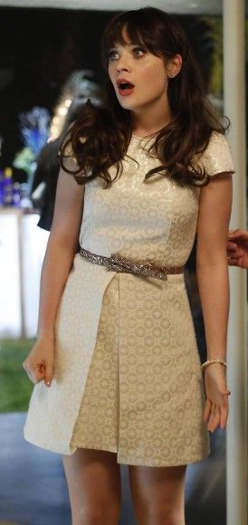 Zooey Deschanel's White metallic dress with glittery gold bow belt on New Girl | WWZDW? What Would Zooey Deschanel Wear?