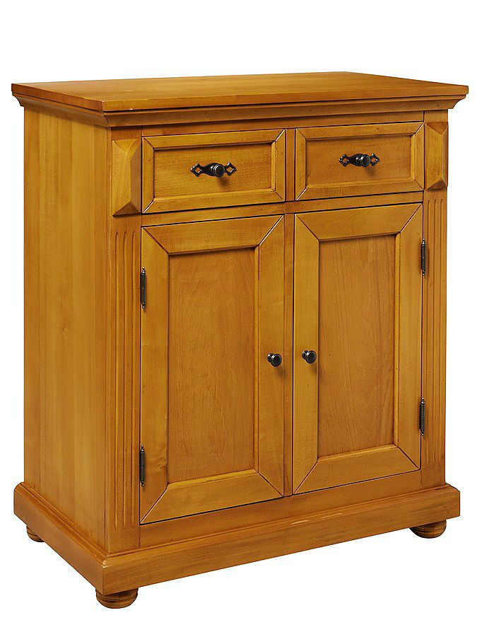 Superb Highboard honigfarben gewachst und lackiert oder cremefarben lackiert Mit dekorativen Ornamenten und profiliertem Kranz Aus FSC zertifiziertem Holz