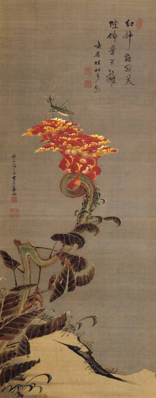 伊藤若冲 Jakuchū Ito (1716-1800). Cockscomb and Mantis. Japanese hanging scroll. Edo period.