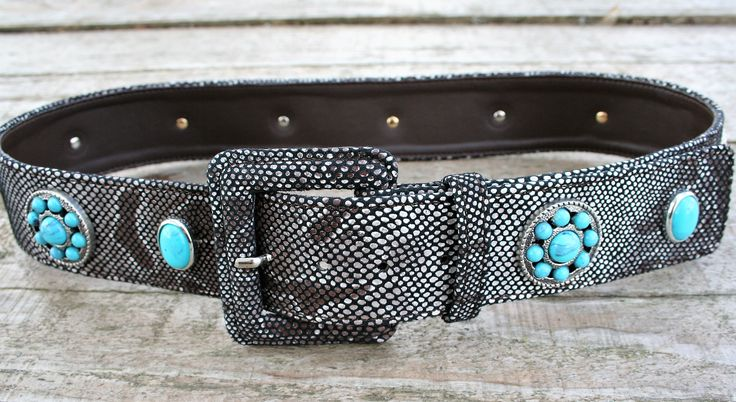 Woman belt genuine python skin print with turquoise rivets - Cintura donna vera pelle stampa pitone con rivetti turchese - CUCCOLI ACCESSORI MODA