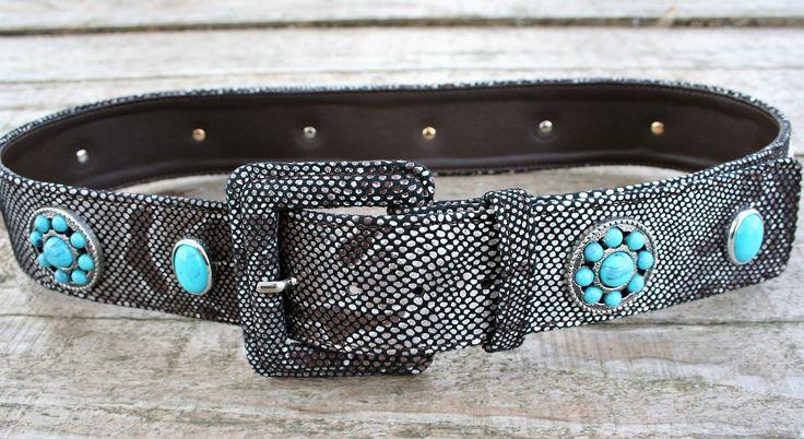 Woman belt genuine python skin print with turquoise rivets - Cintura donna vera pelle stampa pitone con rivetti turchese - CUCCOLI ACCESSORI MODA