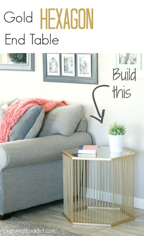 Learn how to build this Gold Hexagon End Table with free building plans!