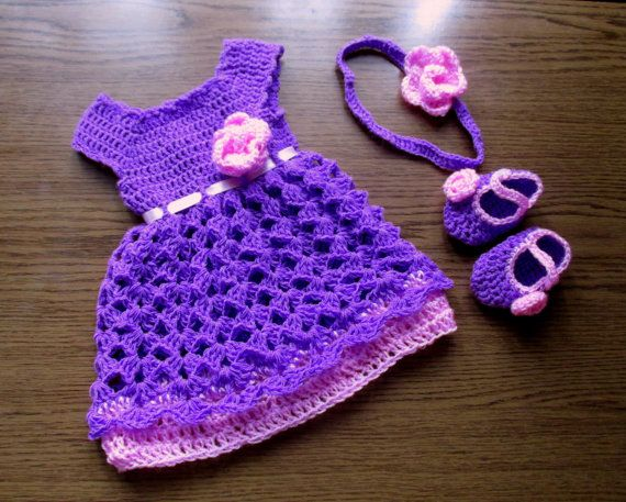 Baby Dress , Headband and Booties in  purple pink,  Baby Clothes, baby frock, Infant Clothes, Crochet Baby Dress, take home clothes