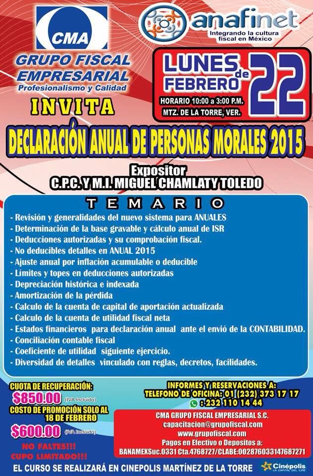 """""""DECLARACIÓN ANUAL DE PERSONAS MORALES 2015"""" http://actualizandome.com/th_event/declaracion-anual-de-personas-morales-2015/ #fb #cptwitter"""