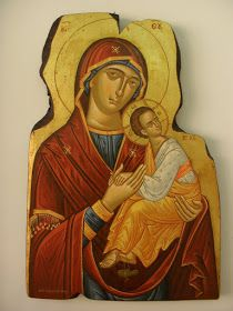 Byzantine icon ofHoly Mother and Christ Child Holy Mother, Panaghia with Christ Child, tenderly holding His hand Deatail of the fa...