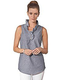 New Mud Pie Womens Whitney Sleeveless Chambray Tunic With Ruffle Neckline, Blue online. Find the perfect Democracy Tops-Tees from top store. Sku FBUC95060NZDR86629