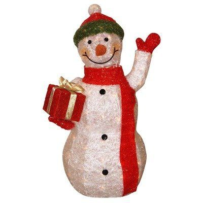 "Snowman Waving with Present Statue by Alpine. $147.99. Made with weather-resistant fibers on high quality steel frames. Includes two anchors for sturdy in-ground placement. 22""L x 15""W x 39""H. Comes with 70 halogen lights. CHT106L Features: -Statuary.-Made with weather-resistant fibers on high quality steel frames.-Creates a festive and bright outdoor holiday to any landscape.-Latest outdoor Christmas line. Dimensions: -Dimensions: 39'' H x 15'' W x 22'' D.. Save 42%!"