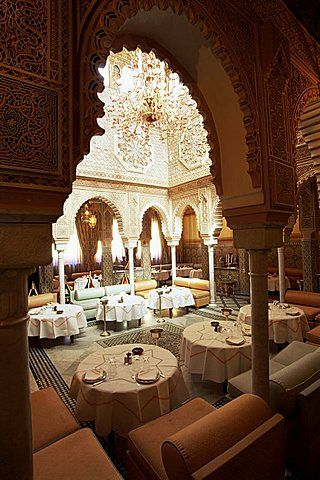 Interior view of Moroccan Restaurant, La Mamounia Hotel, Marrakech, Morocco, North Africa