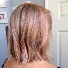 Rose gold hair, pink hair, wella instamatics, lob, long bob, balayage, blonde, hair painting