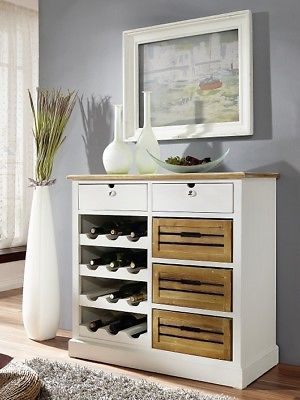 Details zu Weinschrank Schrank Kommode 87x85cm Paulownia Holz weiß