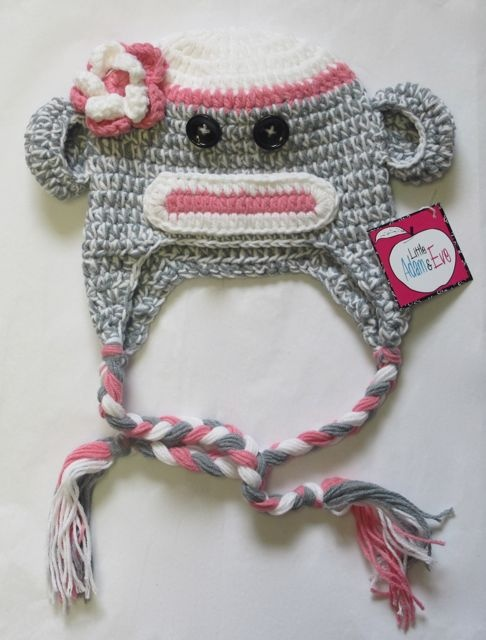 for the Pinkberry!! Pink Sock Monkey Baby Hat