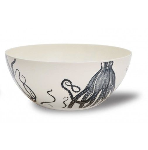 Thomas Paul Melamine Scrimshaw Octopus Bowl