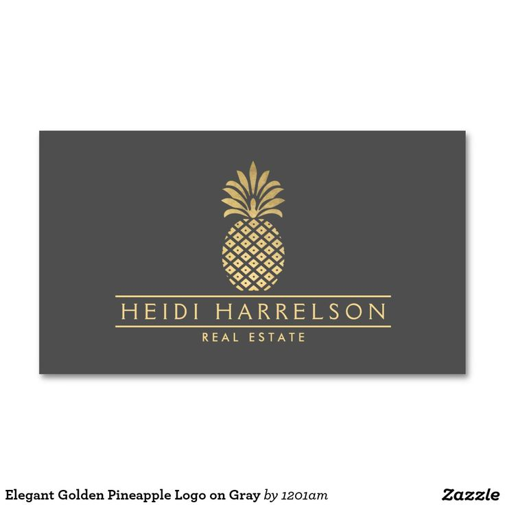 37 best business cards for real estate realtors and brokers images elegant golden pineapple logo on gray business card colourmoves