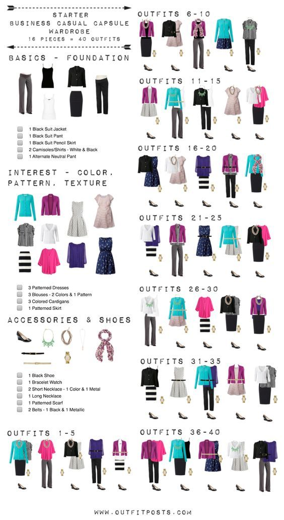 This checklist is a good template for a basic starter work wardrobe.