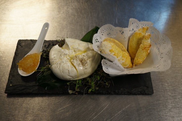 """Have you ever tried """"Burrata""""? It is a soft cheese from Italy, served right here at Merlo in Chicago!     http://merlochicago.com/"""