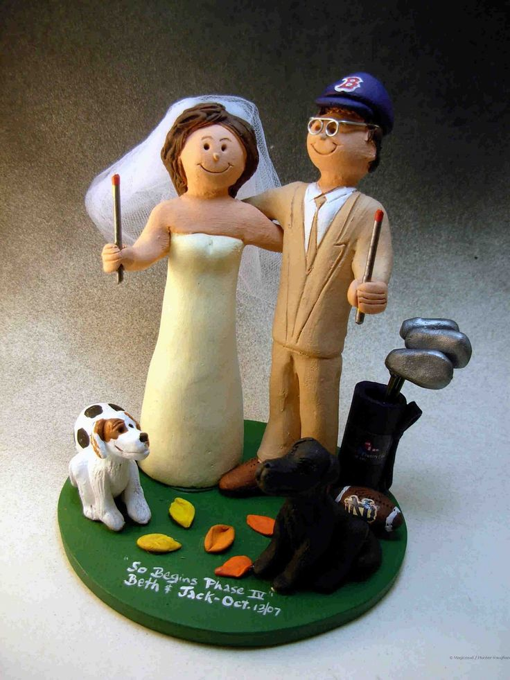 custom wedding cake toppers: Wedding Cake Topper of the Day....Cake Topper with Pet Dogs