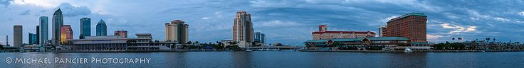 Full Panoramic View of Tampa Bay Skyline During the Blue Hour