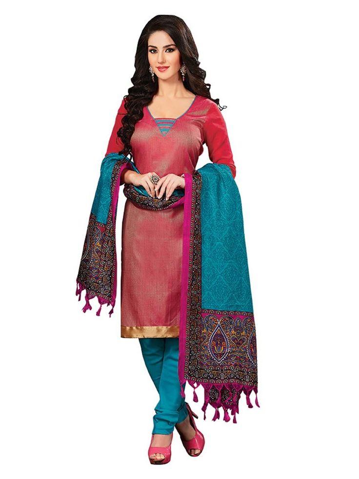 Captivating red color jute silk kameez. Item Code : SLEB13003 www.bharatplaza.com/new-arrivals/salwar-kameez.html
