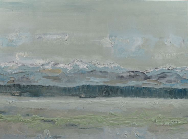 Grayscape Vancouver Island.  Oil on canvas. 32 x 36 inches.  Original painting of ocean with Vancouver Island and mountains.