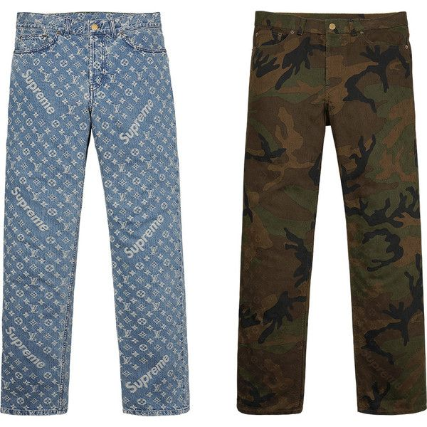 Supreme Louis Vuitton/Supreme Jacquard Denim 5-Pocket Jean ❤ liked on Polyvore featuring jeans, five pocket jeans, 5 pocket jeans, white jeans, louis vuitton and denim jeans