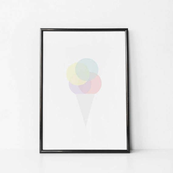 Nursery Ice Cream Print. This nursery Ice Cream print features a soft grey ice cream cone with large pastel ice cream circles coloured in muted shades sitting above. Each ice cream circle gently overlaps to create a lovely effect. This nursery art is soothing and calm making a great addition to any nursery or playroom. Complimentary pastel prints are available here:  https://www.etsy.com/uk/listing/515119861/nursery-raindrop-print-nursery-pastel?ref=listing-...