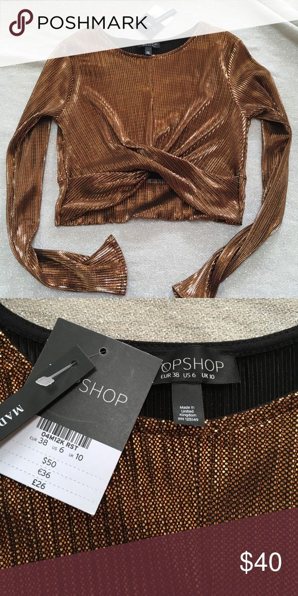 NWT TopShop copper metallic crop top size 6 NWT TopShop copper metallic crop top size 6 .  Beautiful top, 100% polyester! Make an offer!!! Topshop Tops Crop Tops