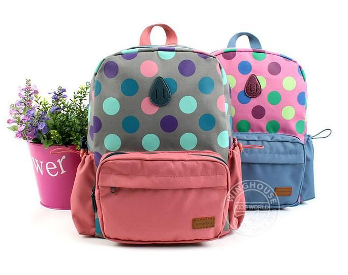 High Quality ! Cute Dot Children School Book  Bags For Kids Girls .Actical Pink Blue Satchel Backpack,Free Shipping Z11-in Backpacks from Lu...
