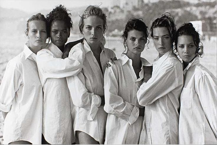 Estelle LeFebure, Karen Alexander, Rachel Williams, Linda Evangelista, Tatjana Patitz & Christy Turlington US Vogue - August 1988