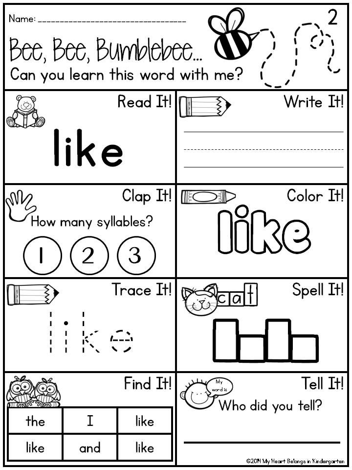 word Kindergarten Worksheets sight fry worksheets  kindergarten Sight Words