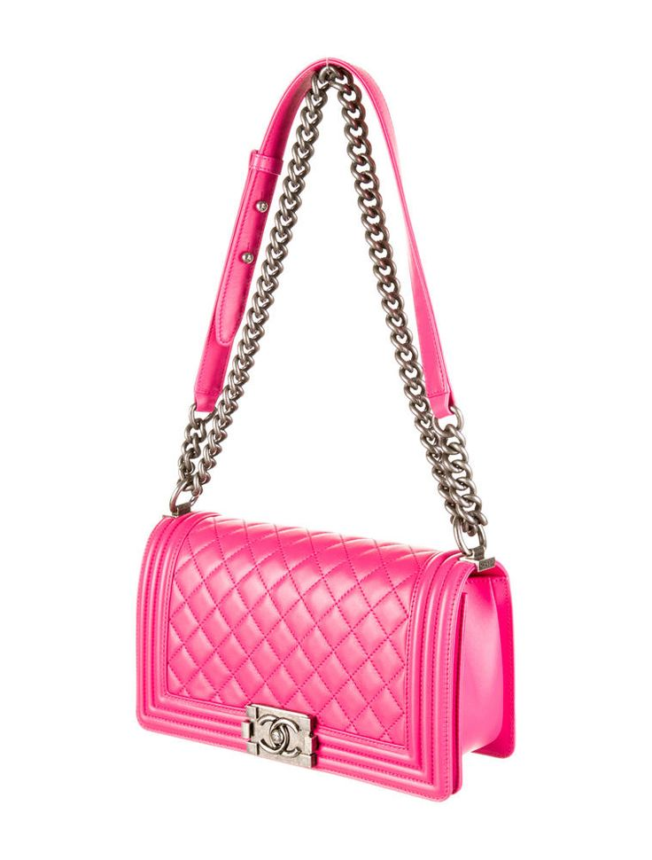 Hot pink quilted leather Chanel Medium Boy Bag with ...