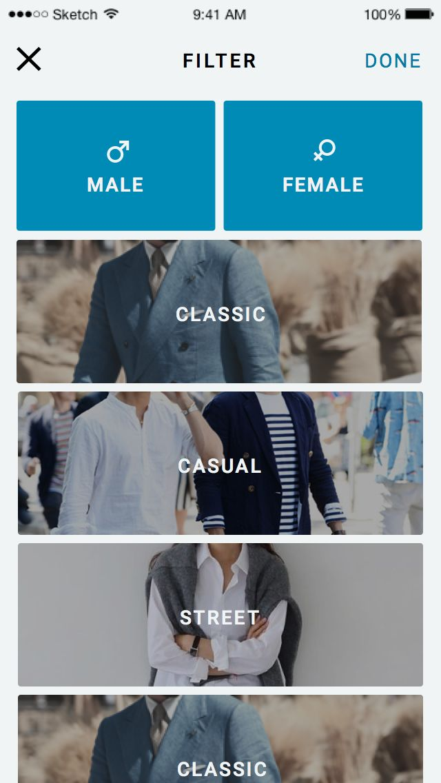 style filter(Simplistic interface of scroll-able horizontal tabs for clothes, while it looks easy to use it does lack certain information such as a shopping cart or more selective options)