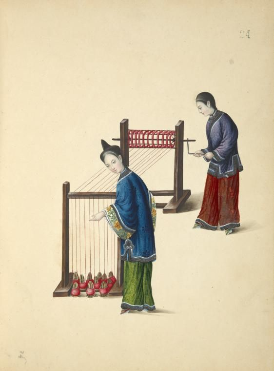 Two women threading silk from spindles onto larger spindle ...