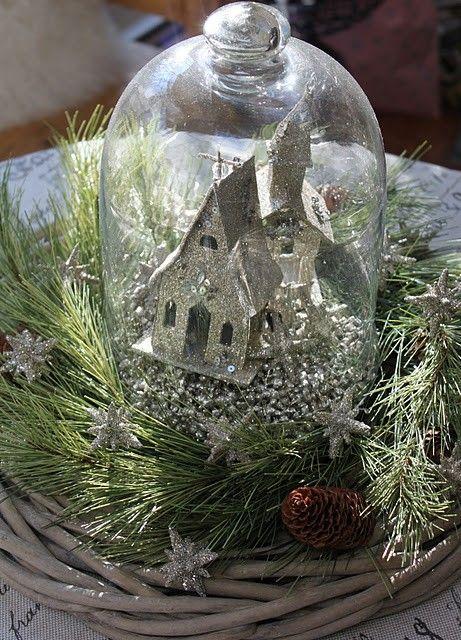 Cloche nestled in a wreath -good idea
