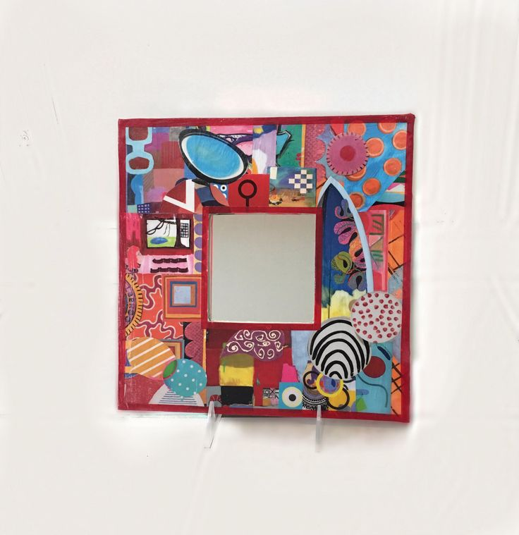Graphic Print Mirror, Multi-colored Mirror, Square Mirror, Unique Mirror, Decorative Mirror, Contemporary Mirror, Modern Mirror by TheUpcycledArtShop on Etsy